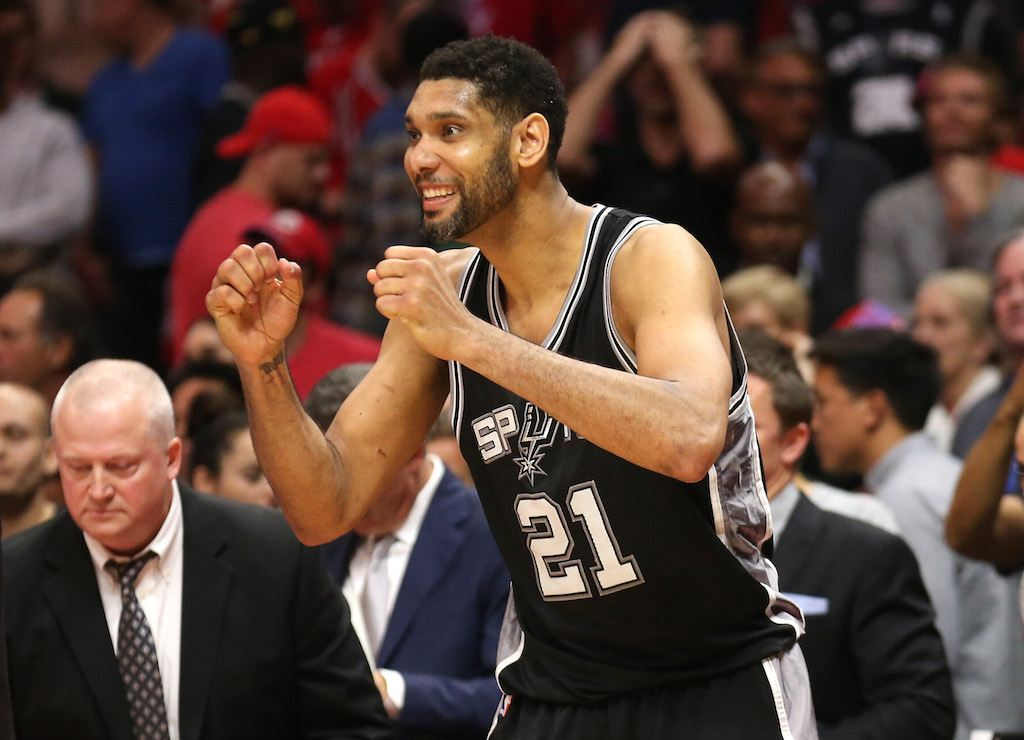 Tim Duncan celebrates during the 2015 NBA Playoffs. | Stephen Dunn/Getty Images