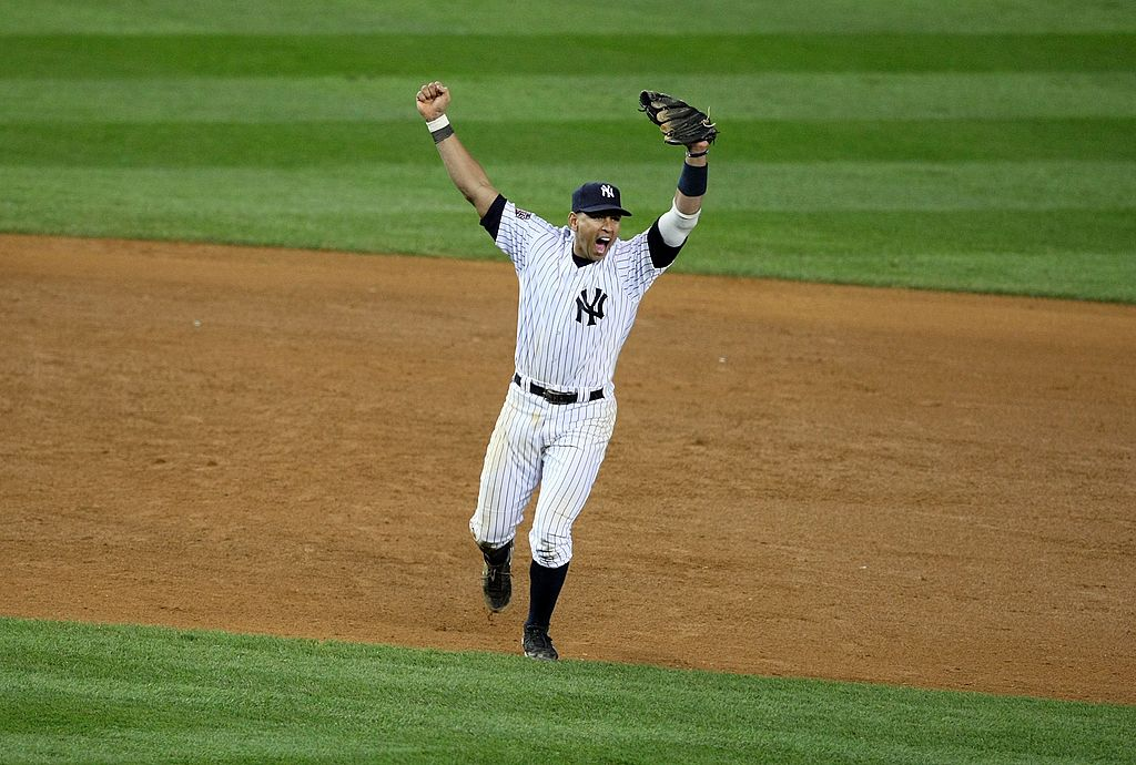 Alex Rodriguez #13 of the New York Yankees celebrates
