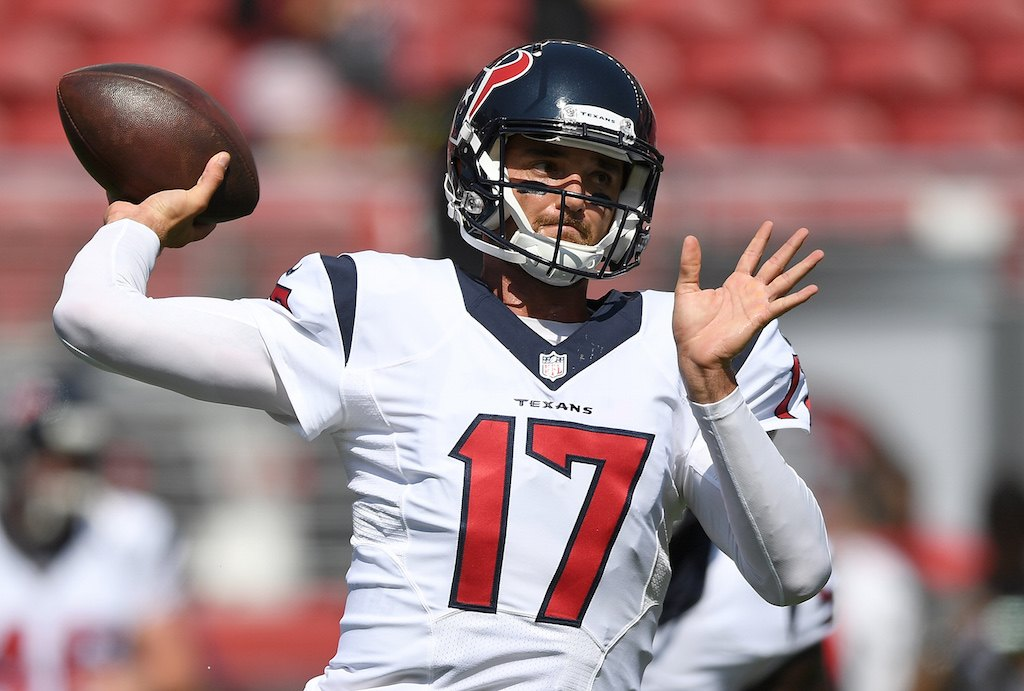 SANTA CLARA, CA - AUGUST 14: Quarterback Brock Osweiler #17 of the Houston Texans throws during pregame warm ups prior to playing the San Francisco 49ers in a preseason game at Levi's Stadium on August 14, 2016 in Santa Clara, California. (Photo by Thearon W. Henderson/Getty Images)