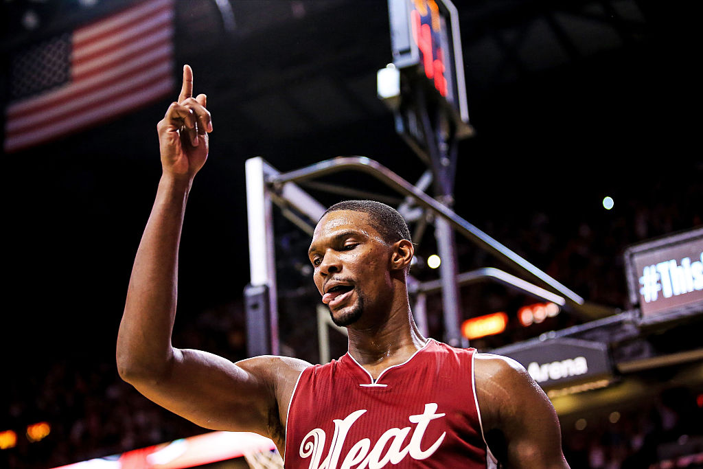 Chris Bosh of the Miami Heat reacts after scoring a basket.