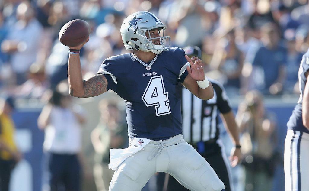 Dallas Cowboys quarterback Dak Prescott looks for a target