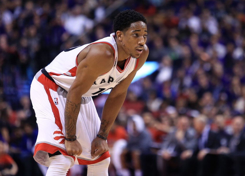 DeMar DeRozan looks on during a game.