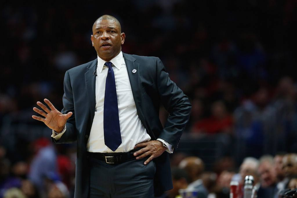 Clippers coach Doc Rivers doing his thing.