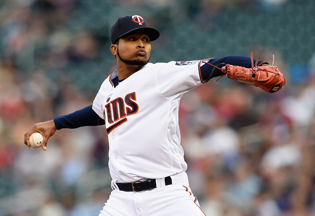 Ervin Santana of the Minnesota Twins delivers a pitch.