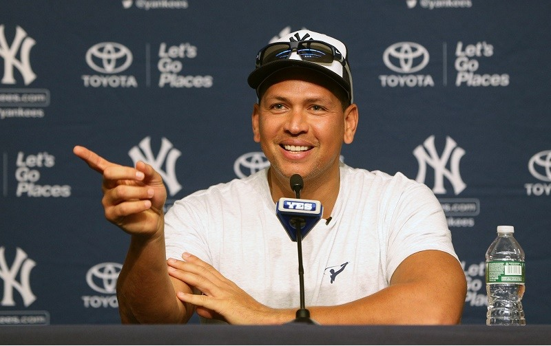 A-Rod speaks at a press conference before his final game as a Yankee on August 12, 2016.