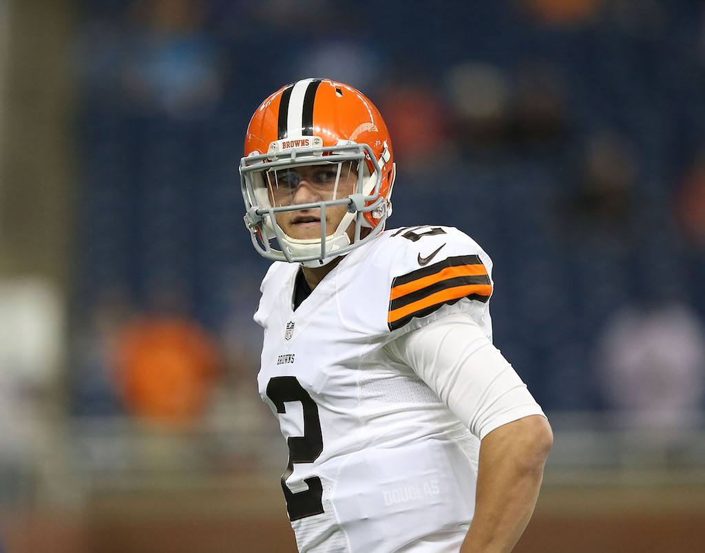 Johnny Manziel looks frustrated during a preseason game.