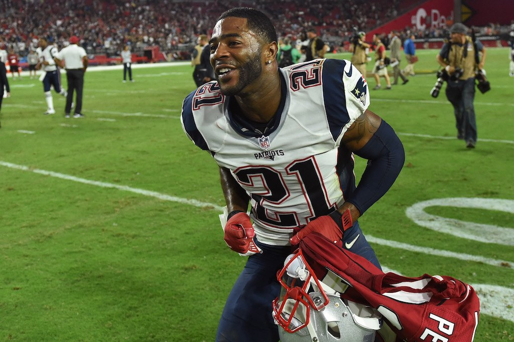 Malcolm Butler of the New England Patriots celebrates after a game against the Arizona Cardinals.
