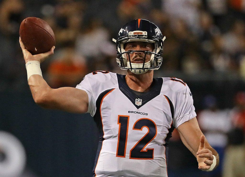 Paxton Lynch #12 of the Denver Broncos passes against the Chicago Bears.