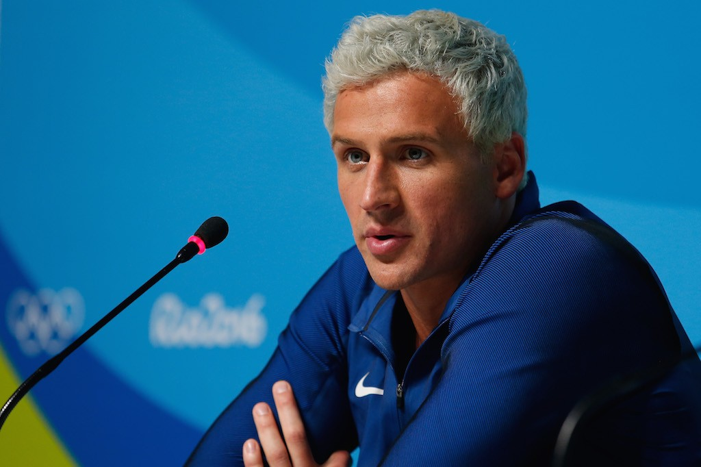 Ryan Lochte speaks to the press at the Rio Olympics | Matt Hazlett/Getty Images