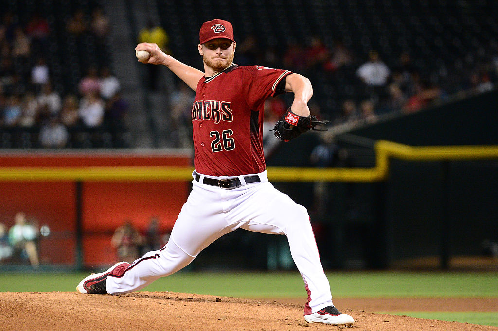 Shelby Miller pitches.