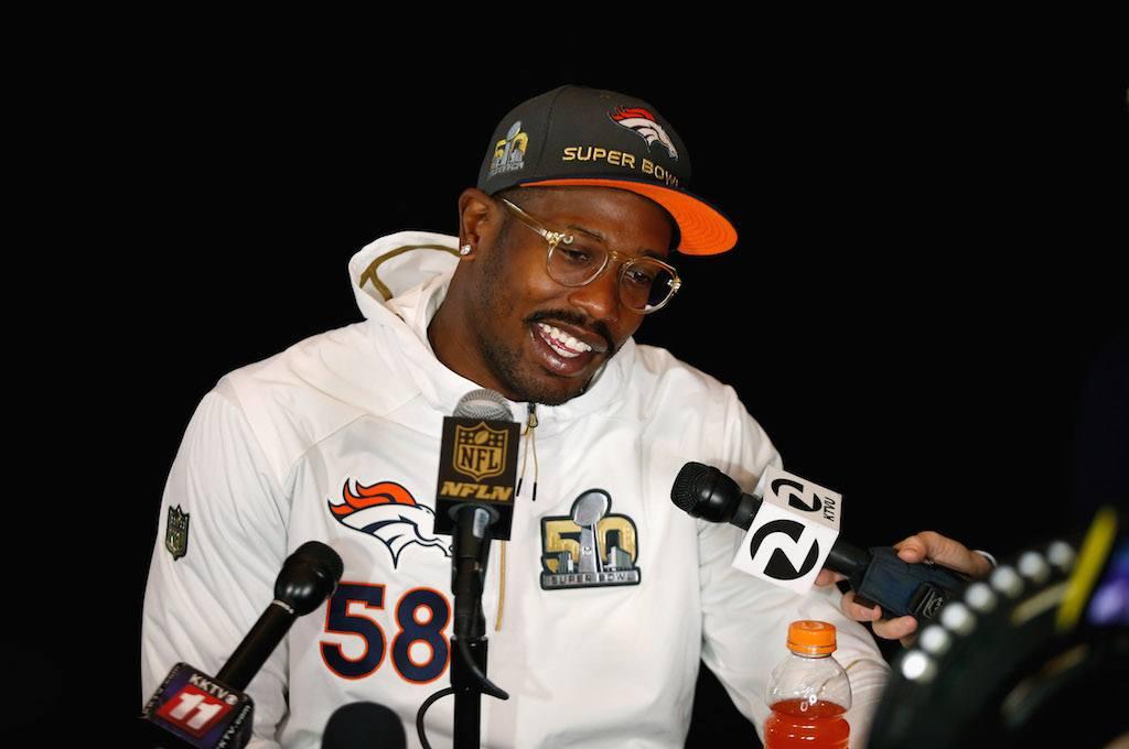 Denver Broncos linebacker Von Miller speaks to the media.