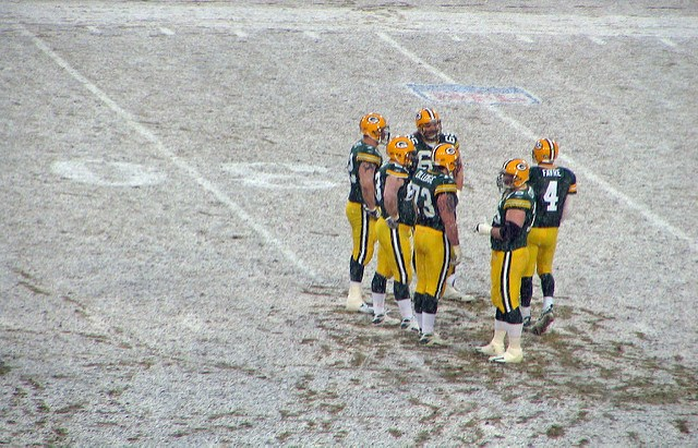 Brett Favre playing in the snow.