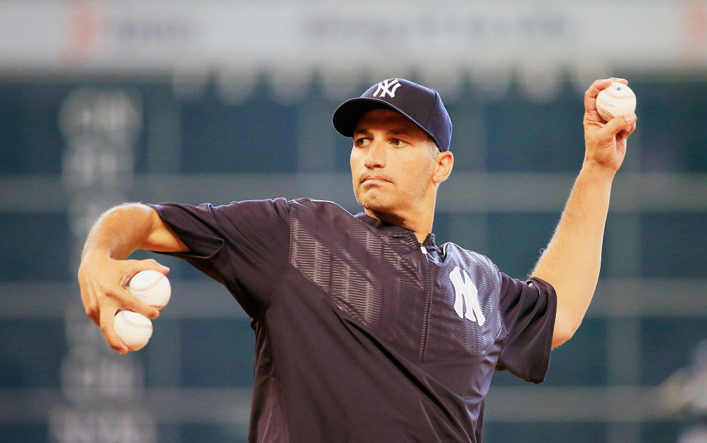 HOUSTON, TX - JUNE 25: Former Houston Astro and New York Yankee pitcher Andy Pettitte throws a pitch during batting practice prior to the game between the Yankees and Astros at Minute Maid Park on June 25, 2015 in Houston, Texas. (Photo by Scott Halleran/Getty Images)