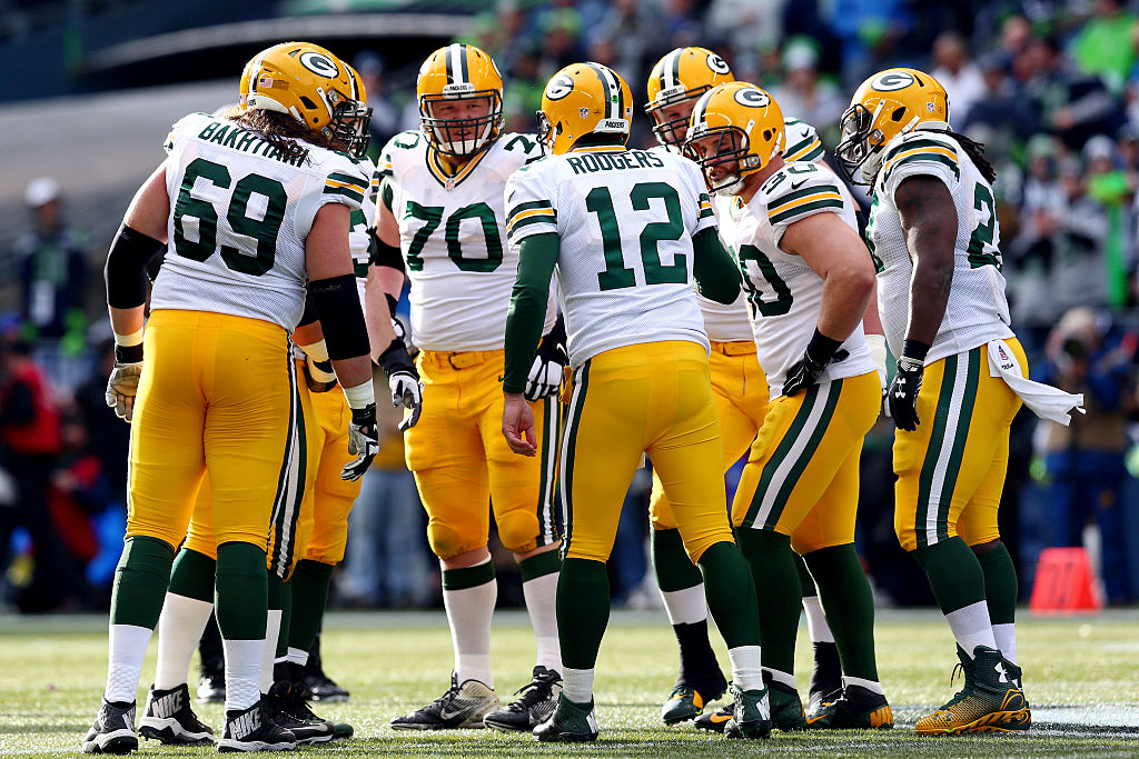 Aaron Rodgers of the Green Bay Packers calls a play.