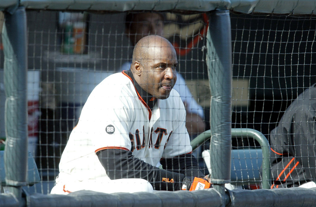 The San Francisco Giants' Barry Bonds looks on as the Marlins beat the Giants 9-5.