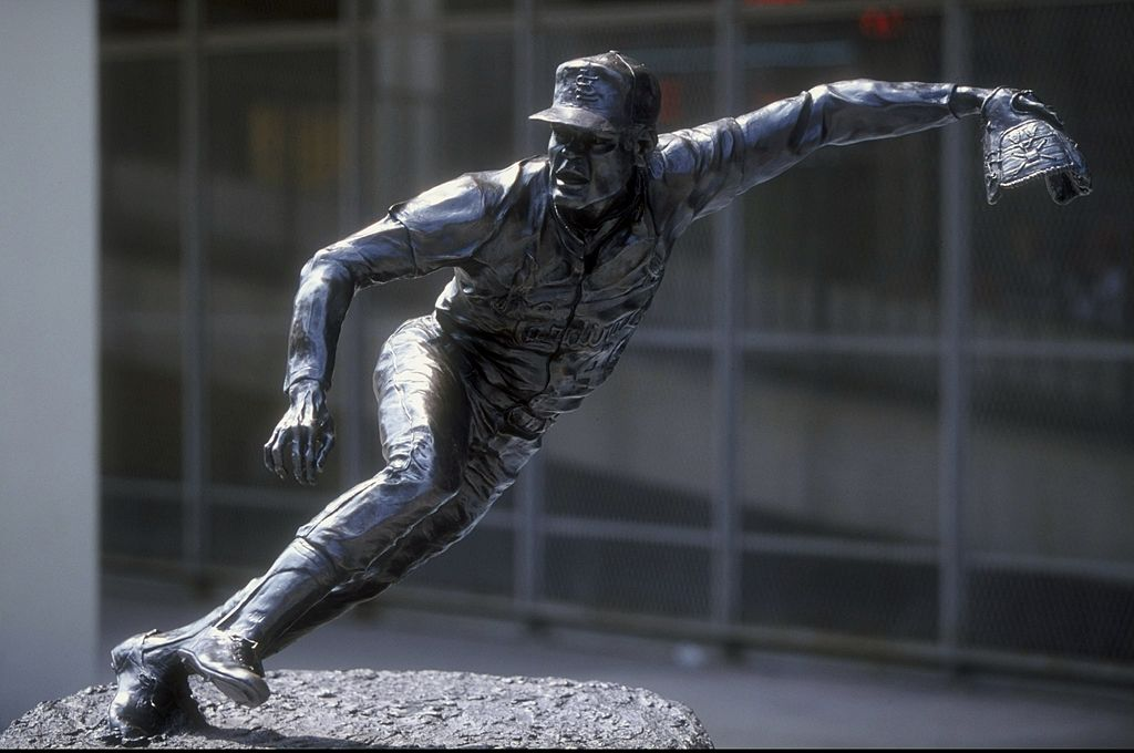 General view of a statue of Bob Gibson