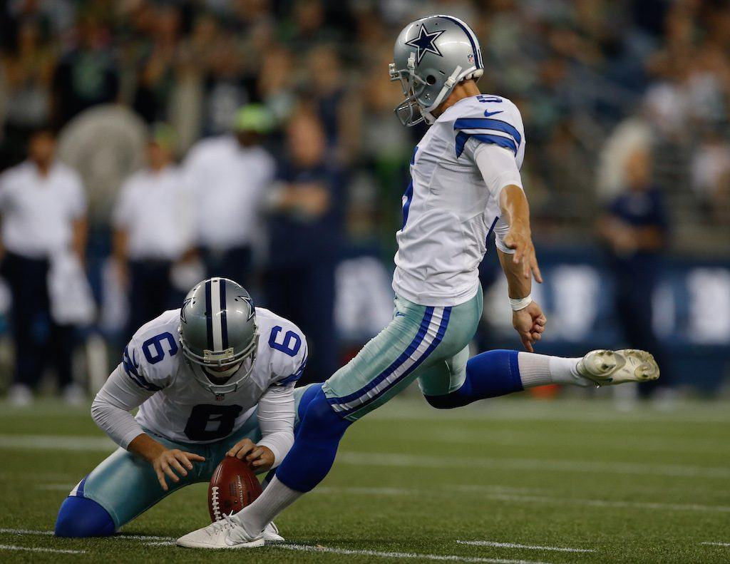 Dan Bailey kicks a field goal for the Dallas Cowboys.