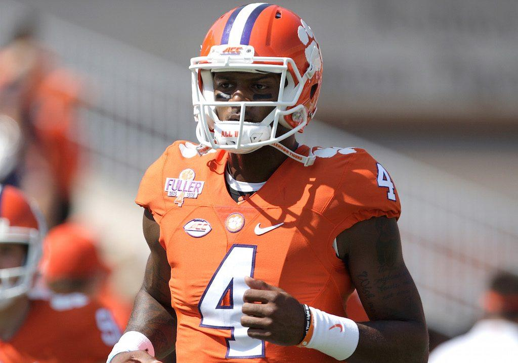 Deshaun Watson #4 of the Clemson Tigers warms up.