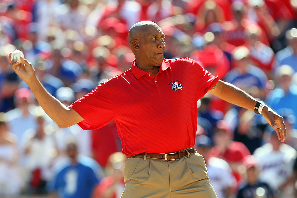 former Texas Rangers pitcher Ferguson Jenkins throws out