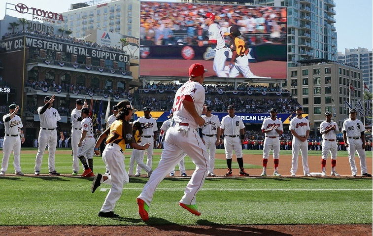 SAN DIEGO, CA - JULY 12: Mike Trout #27 of the Los Angeles Angels of Anaheim runs onto the field prior to the 87th Annual MLB All-Star Game at PETCO Park on July 12, 2016 in San Diego, California.