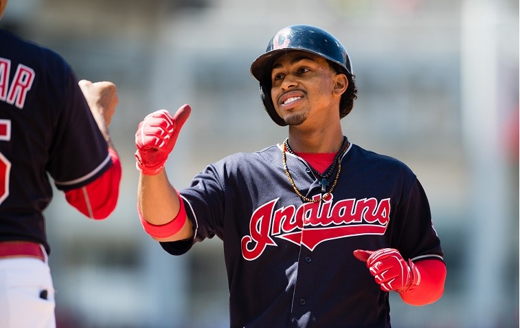 CLEVELAND, OH - AUGUST 21: Francisco Lindor #12 of the Cleveland Indians celebrates after hitting an RBI single during the sixth inning against the Toronto Blue Jays at Progressive Field on August 21, 2016 in Cleveland, Ohio. (Photo by Jason Miller/Getty Images)