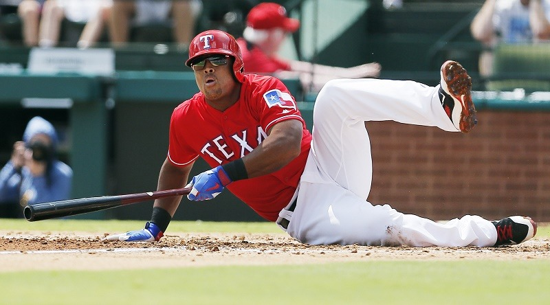 ARLINGTON, TX - SEPTEMBER 04: Adrian Beltre #29 of the Texas Rangers falls down after hitting the ball foul during the second inning of a baseball game against the Houston Astros at Globe Life Park in Arlington on September 4, 2016 in Arlington, Texas. Houston won 7-6.