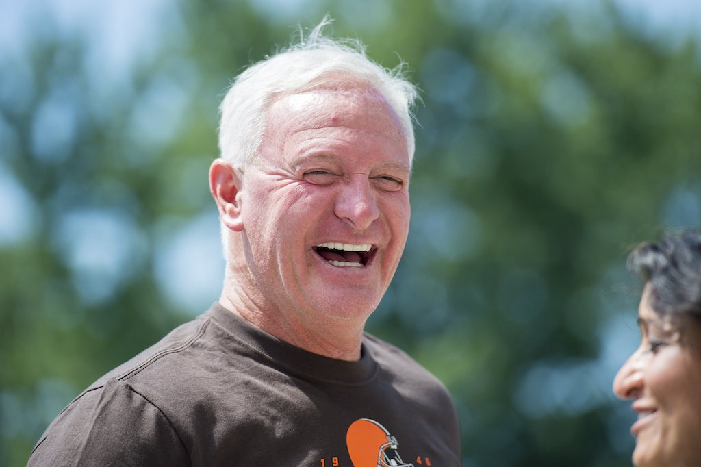 Cleveland Browns owner Jimmy Haslam laughs at an event despite his team's terrible record.