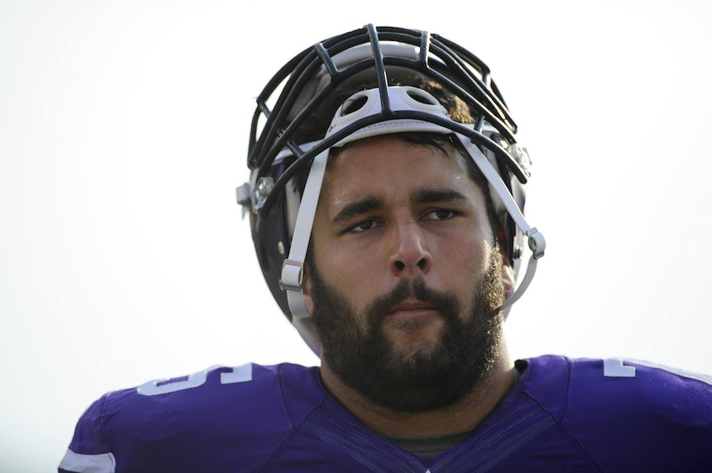 Matt Kalil, now with the Carolina Panthers, looks on before a game.