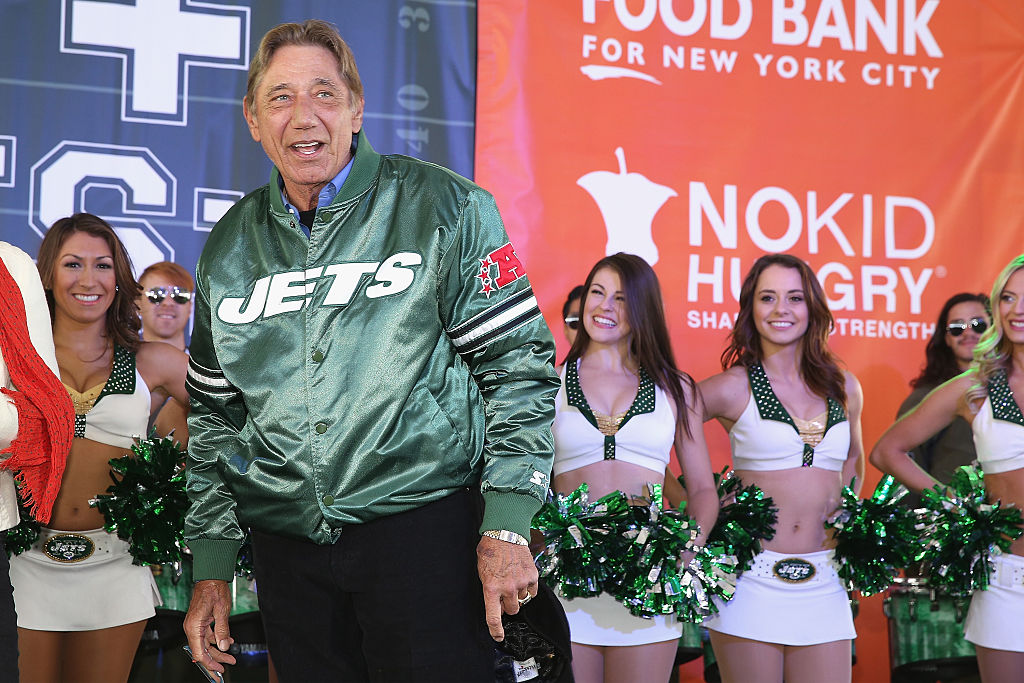 Former New York Jets quarterback Joe Namath speaks onstage during Jets + Chefs: The Ultimate Tailgate hosted by Joe Namath and Mario Batali - Food Network & Cooking Channel New York City Wine & Food Festival presented by FOOD & WINE at Pier 92 on October 17, 2015 in New York City. (Photo by Robin Marchant/Getty Images for NYCWFF)