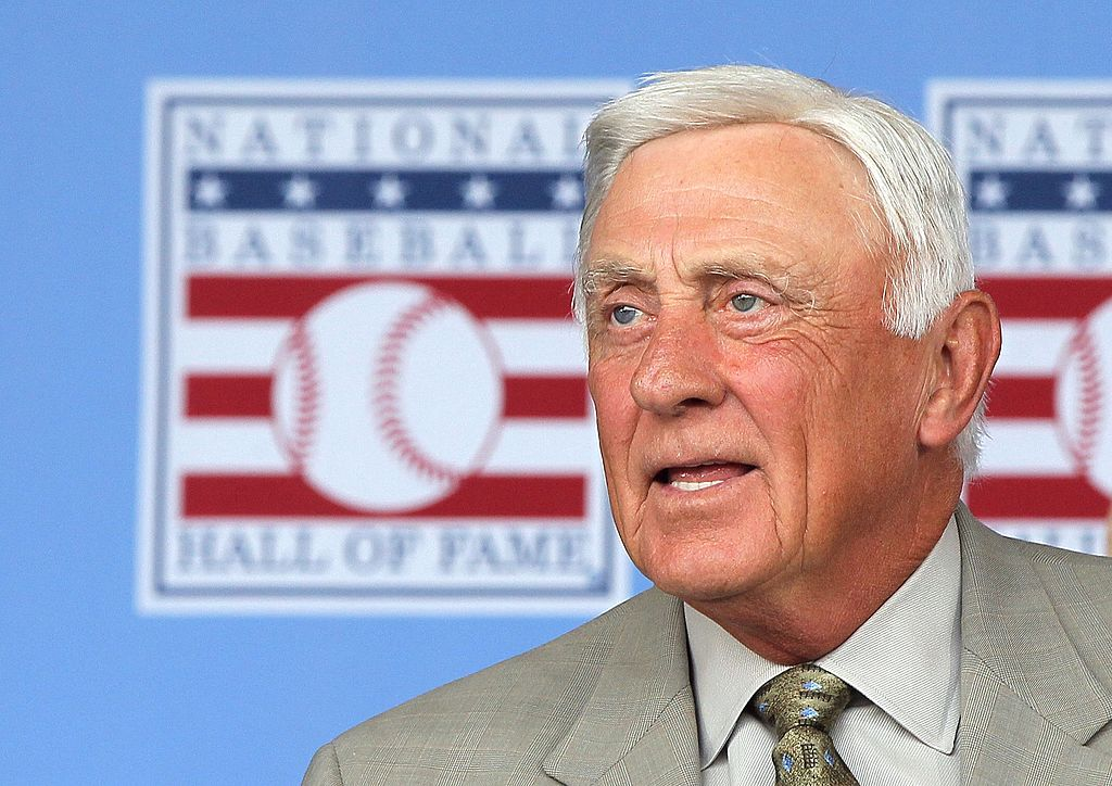 Hall of Famer Phil Niekro is introduced at Clark Sports Center