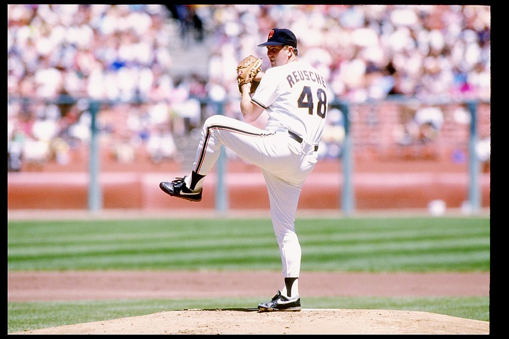 1990: Pitcher Rick Reuschel of the San Francisco Giants winds up for the pitch. Mandatory Credit: Otto Greule /Allsport