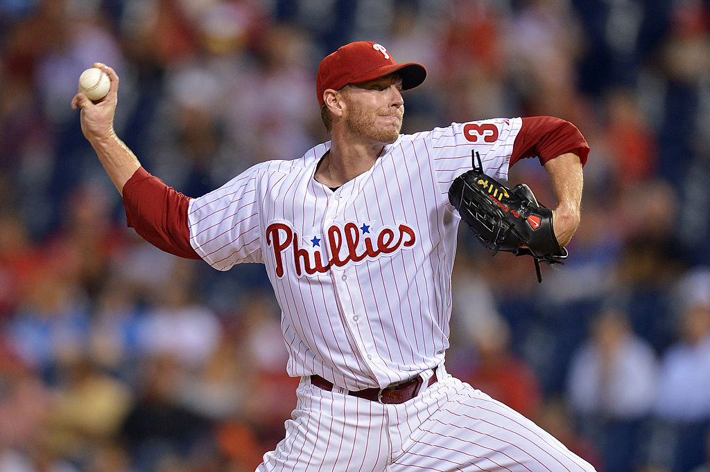PHILADELPHIA, PA - SEPTEMBER 12: Starter Roy Halladay #34 of the Philadelphia Phillies delivers a pitch in the first inning against the San Diego Padres at Citizens Bank Park on September 12, 2013 in Philadelphia, Pennsylvania. (Photo by Drew Hallowell/Getty Images)