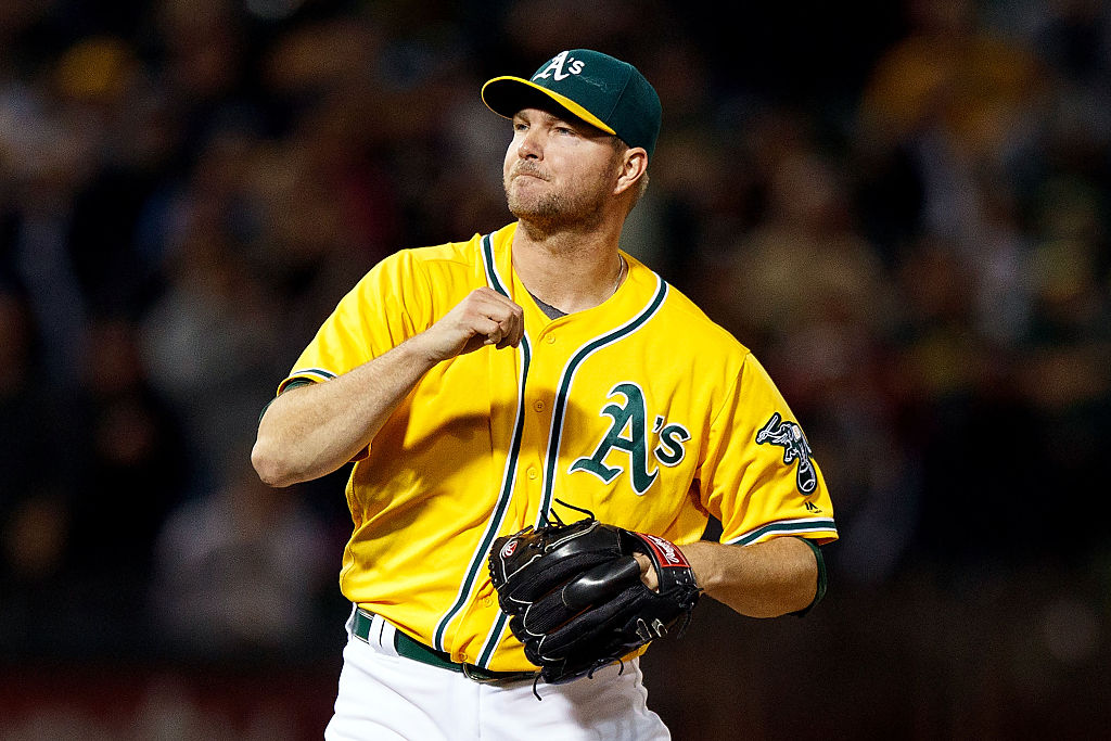 Ryan Madson of the Oakland Athletics celebrates after the game against the Baltimore Orioles.
