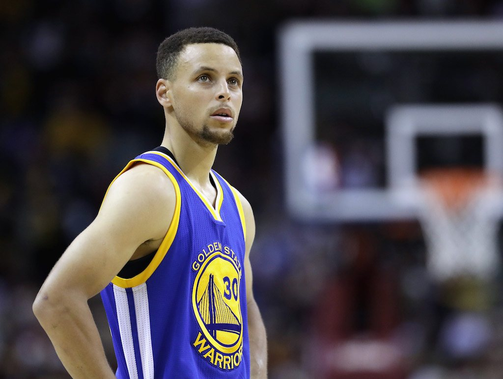 Steph Curry looks on during a game.