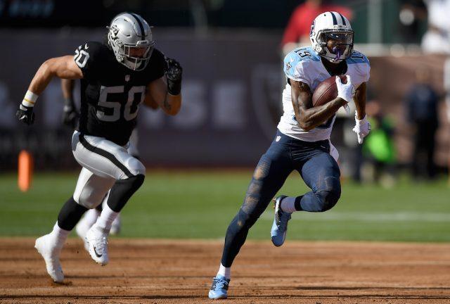 Tajae Sharpe (R) shows his breakaway speed   Thearon W. Henderson/Getty Images
