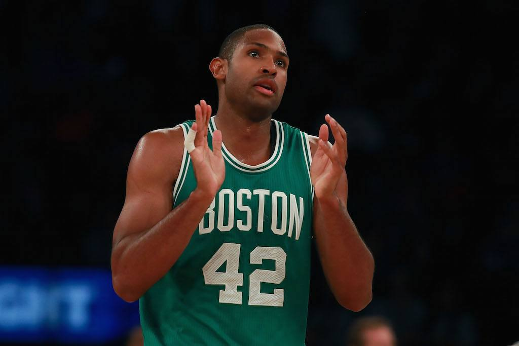 Al Horford claps after he makes a free throw.