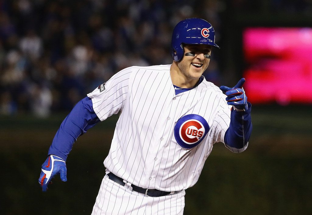 Anthony Rizzo celebrates a home run.