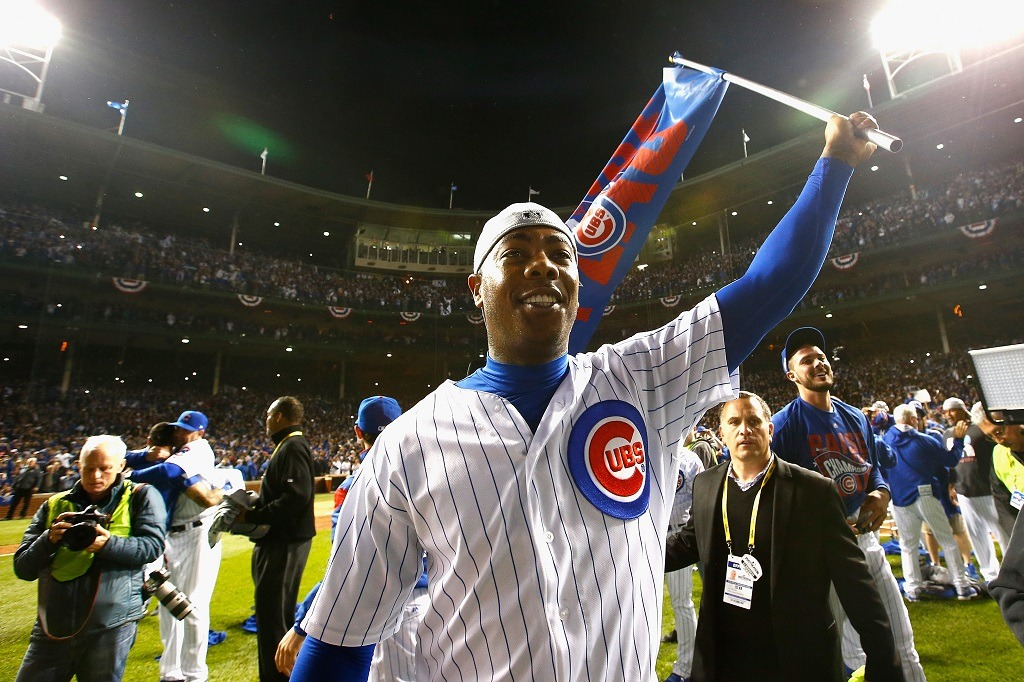 CHICAGO, IL - OCTOBER 22: Aroldis Chapman #54 of the Chicago Cubs reacts after defeating the Los Angeles Dodgers 5-0 in game six of the National League Championship Series to advance to the World Series against the Cleveland Indians at Wrigley Field on October 22, 2016 in Chicago, Illinois. (Photo by Jamie Squire/Getty Images)
