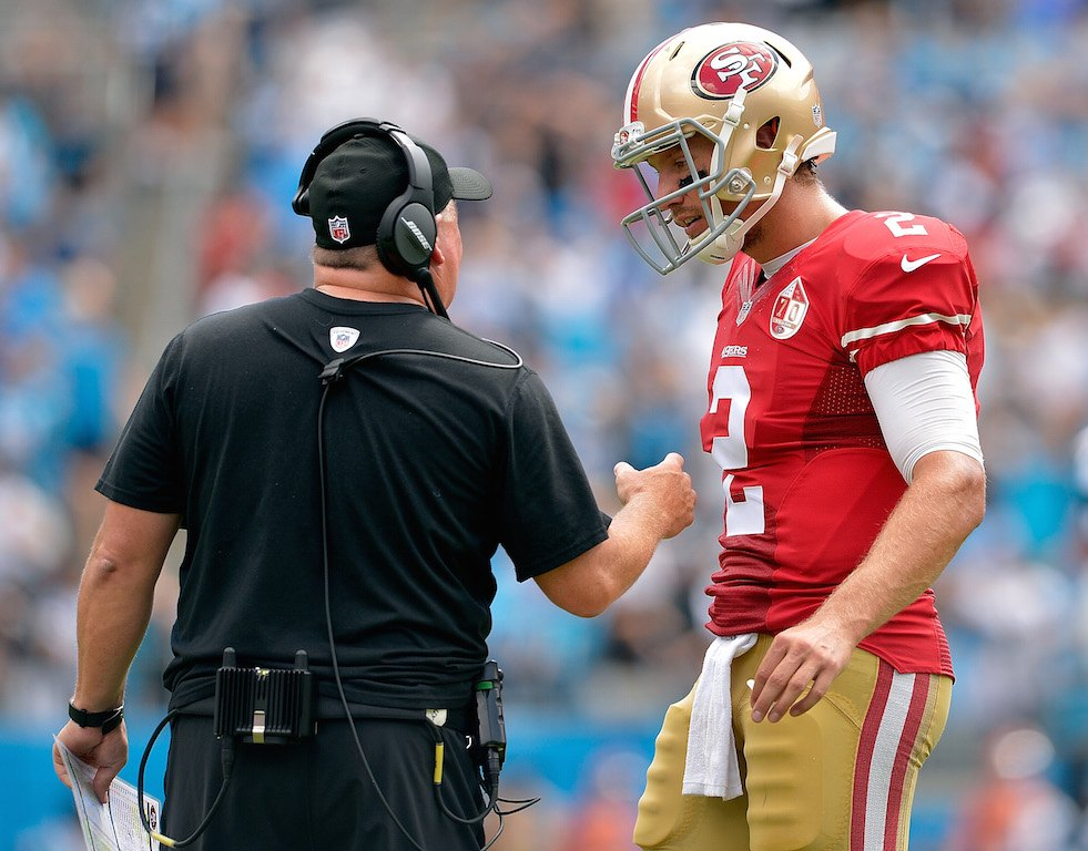 Blaine Gabbert (R) hasn't gotten it done for the Niners | Grant Halverson/Getty Images