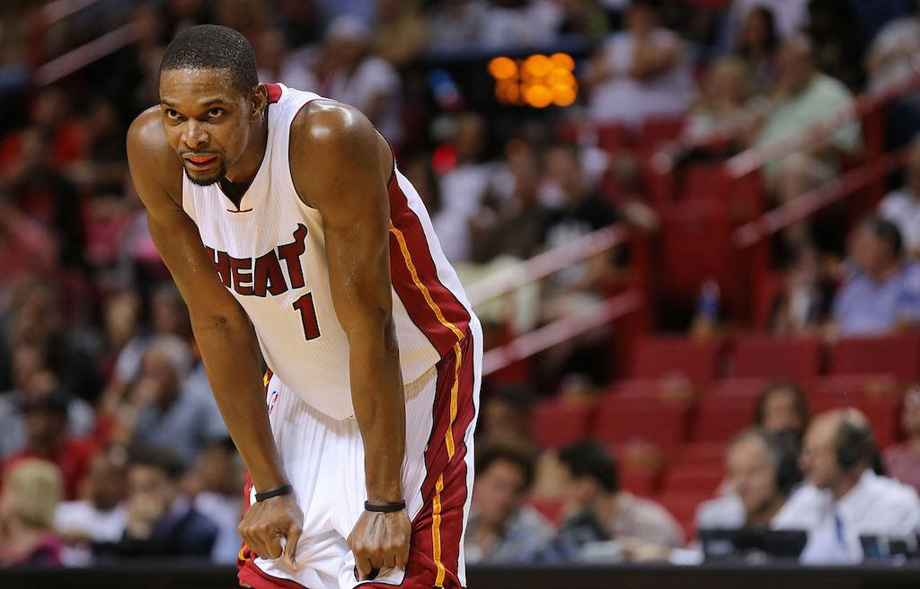 Chris Bosh looks super focused | Mike Ehrmann/Getty Images