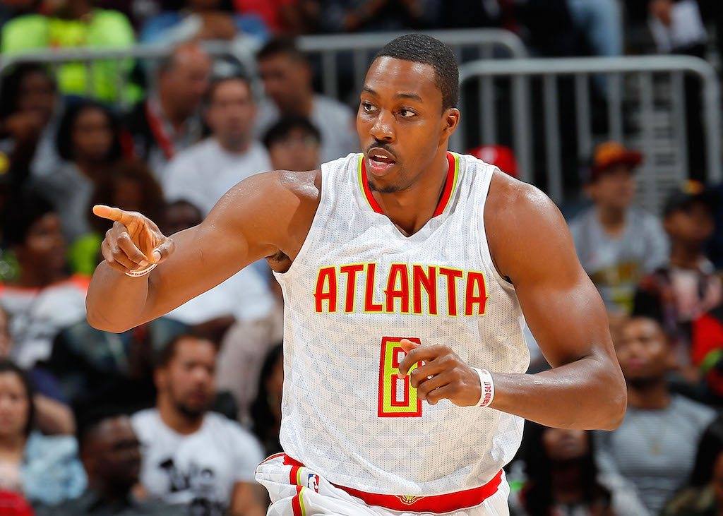Dwight Howard gestures during a game.