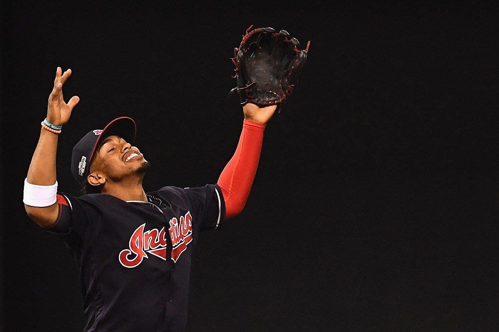 Francisco Lindor celebrates the final out against the Boston Red Sox.