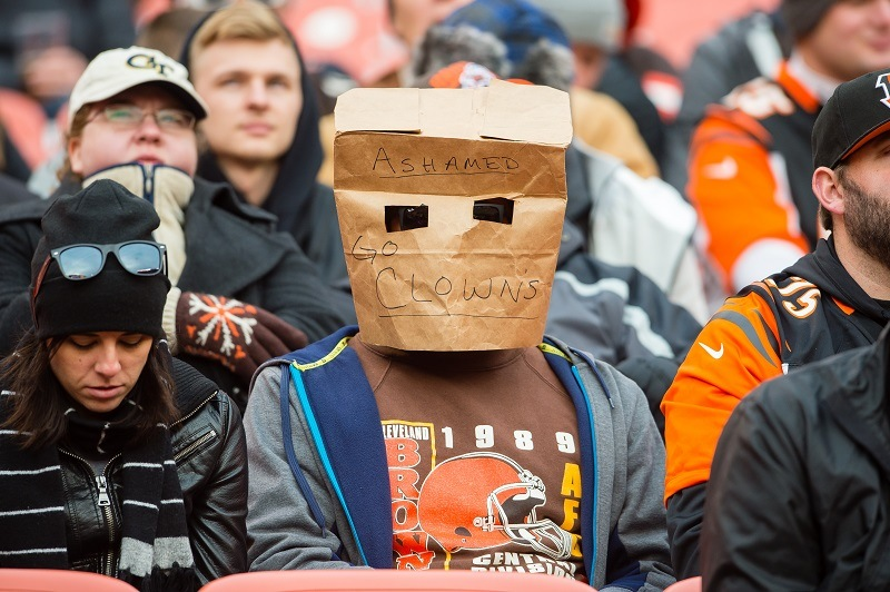 A Cleveland Browns fan expresses his disappointment.
