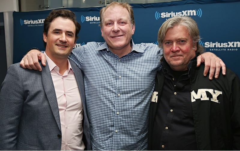 NEW YORK, NY - APRIL 27: Former ESPN Analyst Curt Schilling (C) talks about his ESPN dismissal and politics during SiriusXM's Breitbart News Patriot Forum hosted by Stephen K. Bannon (R) and co-host Alex Marlow (L) at the SiriusXM Studio on April 27, 2016 in New York, New York. (Photo by Cindy Ord/Getty Images for SiriusXM)