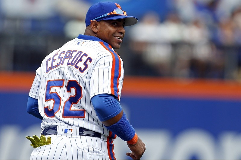 Yoenis Cespedes of the New York Mets reacts after a catch
