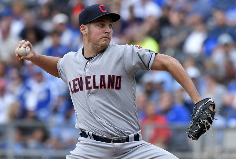 Trevor Bauer of the Cleveland Indians throws against the Kansas City Royals on October 1, 2016.