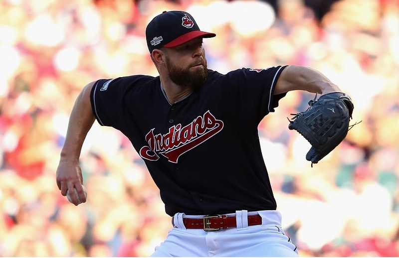 Corey Kluber of the Cleveland Indians throws a pitch in the first inning against the Boston Red Sox
