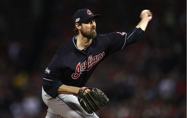 Andrew Miller of the Cleveland Indians throws a pitch in the sixth inning against the Boston Red Sox during game three of the American League Divison Series at Fenway Park on October 10, 2016 in Boston, Massachusetts.