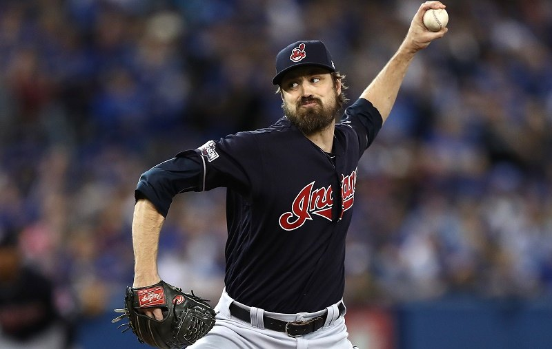 Andrew Miller of the Cleveland Indians throws a pitch against the Toronto Blue Jays.