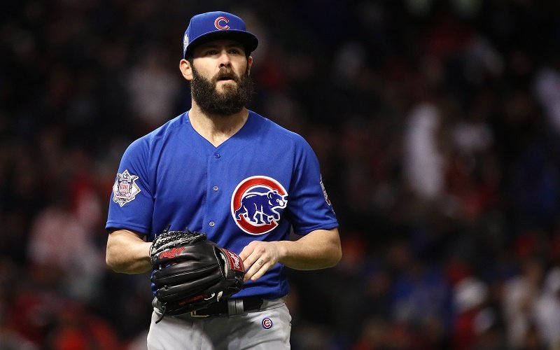 CLEVELAND, OH - OCTOBER 26: Jake Arrieta of Chicago Cubs walks off the field after the fifth inning against the Cleveland Indians in Game Two of the 2016 World Series at Progressive Field on October 26, 2016 in Cleveland, Ohio.